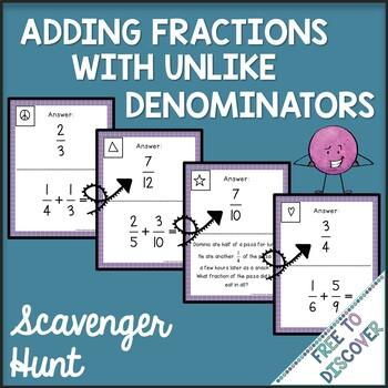 Adding Fractions with Unlike Denominators Scavenger Hunt