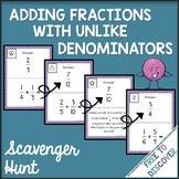 Adding Fractions with Unlike Denominators Scavenger Hunt Activity