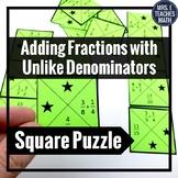 Adding Fractions with Unlike Denominators Square Puzzle