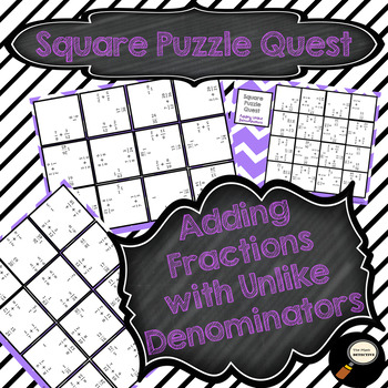Adding Fractions with Unlike Denominators - Square Puzzle Quest