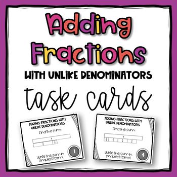 Adding Fractions with Unlike Denominators using Models Task Cards