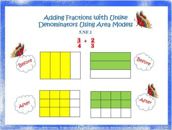 5.NF.1 Adding Fractions with Unlike Denominators Using Area Models