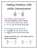 Adding Fractions with Unlike Denominators Visual