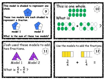 Adding Fractions with Visual Models Task/Scoot Cards