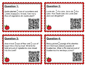 Adding Fractions with a Common Denominator (QR task with models)