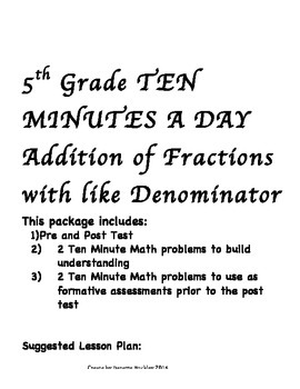 Adding Fractions with like denominator