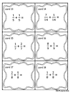 Adding Fractions with like denominators- TASK CARDS