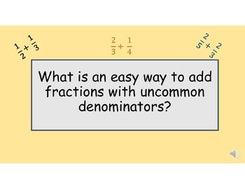 Adding Fractions w/uncommon denominators made Easy! A stra