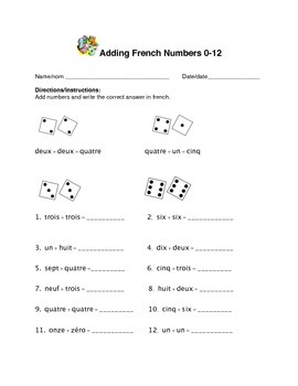 Adding French Numbers 0-12 Assessment