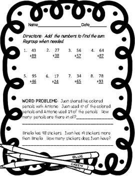 Addition with Regrouping Worksheets 3rd grade TEKS 4th grade CCSS