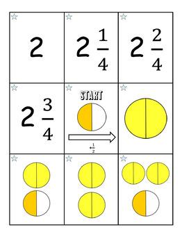 Adding Halves and Fourths Treasure Hunt Math Game