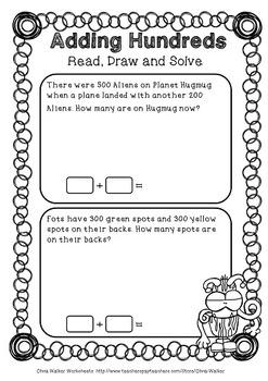 Adding Hundreds Worksheets / Hundreds Addition Worksheets / Printables