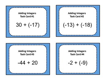 Adding Integers Task Cards - 7.NS.1
