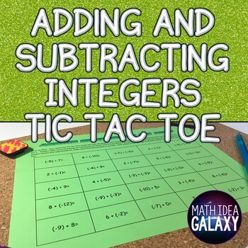 Integers Activity: Tic Tac Toe Game