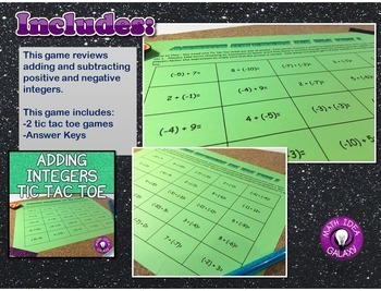 Integers Activity and Games Pack
