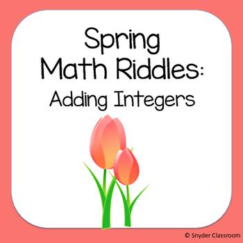 Spring Adding Integers Math Riddles