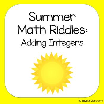 Summer Adding Integers Math Riddles