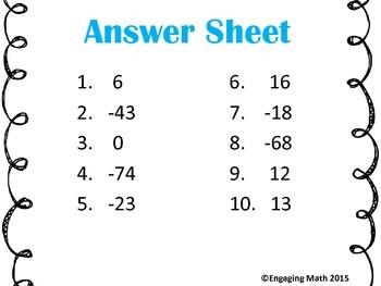 Adding Integers -50 to +50