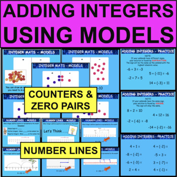 Add Integers Addition Models Number Line Mats PowerPoint Lesson Adding
