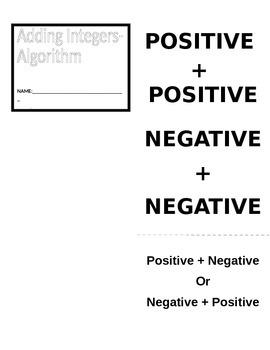 Adding Integers Algorithm Foldable