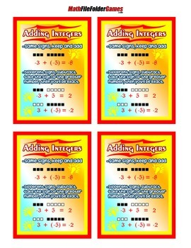 Adding Integers = Math Poster/Anchor Chart with Cards for Students Math Journals