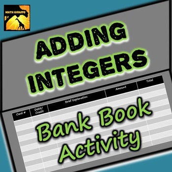 Adding Integers Bank Book Activity