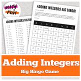 "Adding Integers: ""Big Bingo"" Review Game"