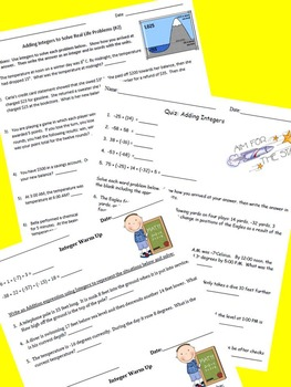 Adding Integers Bundle ~ Common Core 6.NS.C.5 and 7.NS.A.1
