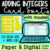 Adding Integers Card Sort Models Chips & Number Lines | PA