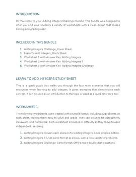 Adding Integers Challenge Bundle