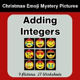 Adding Integers - Christmas EMOJI Color-By-Number Math Mystery Pictures