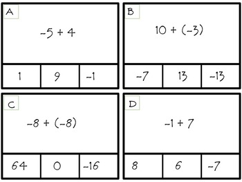 Adding Integers Clip Cards--2 Differentiated Sets