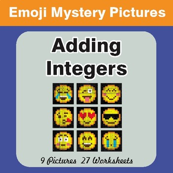 Adding Integers Color-By-Number EMOJI Math Mystery Pictures