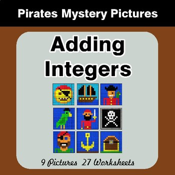 Adding Integers - Color-By-Number Math Mystery Pictures - Pirates Theme