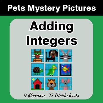 Adding Integers - Color-By-Number Math Mystery Pictures - Pets Theme