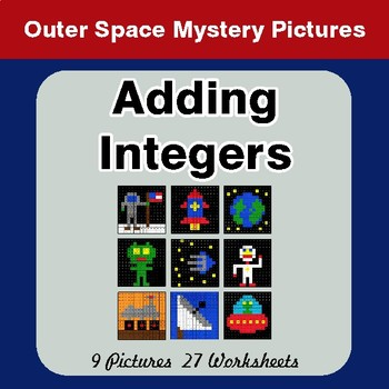 Adding Integers - Color-By-Number Math Mystery Pictures - Space theme