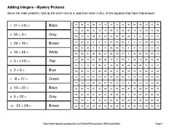 Adding Integers - Color-By-Number Mystery Pictures - Space theme
