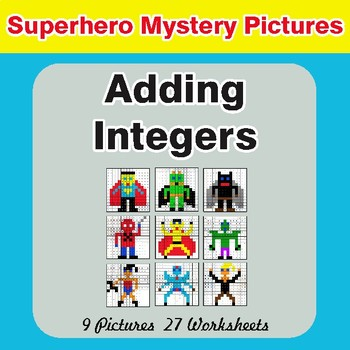 Adding Integers - Color-By-Number Superhero Math Mystery Pictures