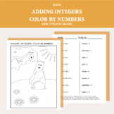 Adding Integers Color By Number Worksheet (6th grade, 7th grade, 8th grade)
