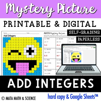 Add Integers: Mystery Picture (Emoji)