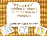 Adding Integers Color by Number Pumpkin