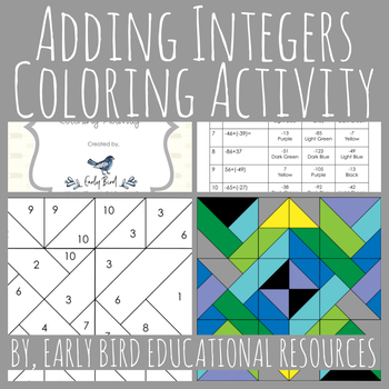 Adding Integers Coloring Activity
