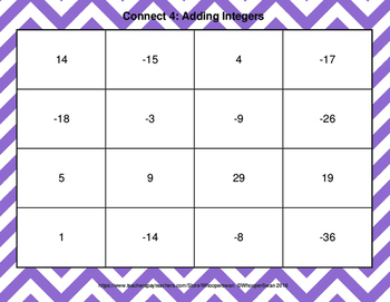 Adding Integers - Connect 4 Game