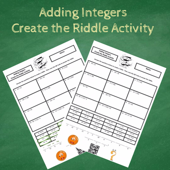 Adding Integers Create the Riddle Activity