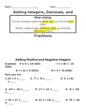 Adding Integers, Decimals, and Fractions