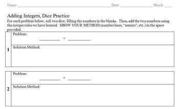 Adding Integers - Dice Organizer