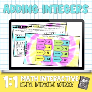Adding Integers Digital Interactive Math Notebook