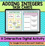 Adding Integers Digital Task Cards