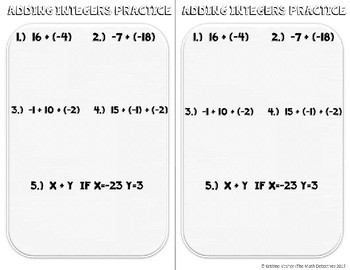 Adding Integers - Doodle Note Brochure for Interactive Notebooks