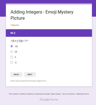 Adding Integers - EMOJI Mystery Picture - Google Forms